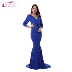 Aliexpress.com   Buy Royal Blue Bridesmaid Dresses Spandex Long Sleeve  Muslim Simple Cheap Maid Of Honor Gowns Women Formal Gowns ZB073 from  Reliable ... 3ae522935011