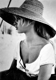 Brigitte Bardot--makes me wish that hats were allowed at school and also thankful for Kate Middleton's influence on fashion b/c I've always loved a good hat!
