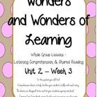 Comprehension Sheets to go along with the McGraw Hill Wonders Reading Series for 1st grade Unit 2, Week 3