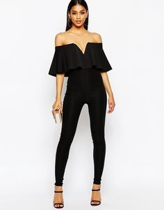 FOR STYLE INSPIRATION || All black off the shoulder top with ruffle and jeans || NOVELA...where the modern romantics play & plan the most stylish weddings...Instagram: @novelabride www.novelabride.com