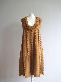 Dress knit knitted dress handmade rustic knit cableknit camel brown long dress woman size S M L