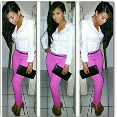 white button down shirt, hot pink jeans & leopard heels. I can make that happen