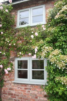 Agate Grey Storm 2 Upvc Window with bar Brick Cottage, Cottage Windows, Cottage Door, Cottage Exterior, Forest Cottage, House With Grey Windows, Green Windows, House Windows, Coloured Upvc Windows