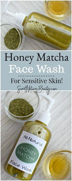 This DIY Honey Matcha Face Wash is great for sensitive skin! With all natural ingredients and essential oils this homemade honey matcha face wash has anti-inflammatory properties. Add the natural honey matcha face wash recipe to your evening routine and y