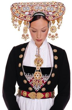 Traditional costume for the bride. From Voss, Norway.