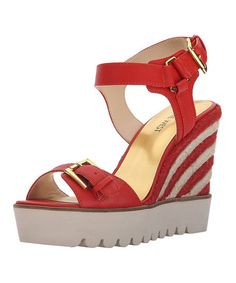 Red April Shower Leather Sandal #zulily #zulilyfinds
