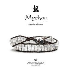 Bracciale Mychau Vietnam Son La originale realizzato con pietre naturali AGATA GHIACCIO su base bracciale colore Testa di Moro.