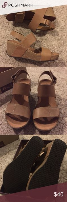 FINAL PRICEBRAND NEW CLARKS WEDGES Brand new • in the box • nude CLARKS wedges with leather upper • never worn • decided against after too late to return! Sold another pair of CLARKS brand new for $32 so this price is firm. Clarks Shoes Wedges
