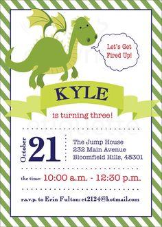 Dragon Kids Birthday InvitationsKBI305DIY 55 X 425 Editable