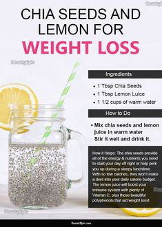 The combination of the two ensures for a filling, slimming drink. Let's take a look at our favourite chia seed and lemon juice drink. Weight Loss Meals, Weight Loss Drinks, Weight Loss Smoothies, Healthy Weight Loss, Snacks For Weight Loss, Weight Loss Juice, Healthy Detox, Healthy Smoothies, Healthy Drinks