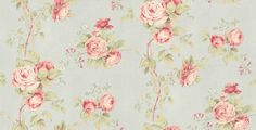 Fleurs et Toile (CG28815) - Brewers Wallpapers - A pretty floral trail in a stylised hand painted effect on a vinyl backing. Shown here in pink on pale blue - more colours are available. Please request a sample for true colour match.