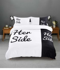 Black and White Bedding Set Her/His Side Soft Duvet Cover Pillowcases Flat Sheet King Queen Bed Sets Hot Lovers Bed Linen