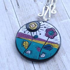 Teal & Berry Spring Flowers   Polymer Clay Pendant   Studio53South