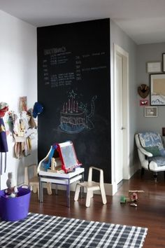 If I wasn't such a clean freak, I would totally put a chalk board in the kids play room.  Great idea!