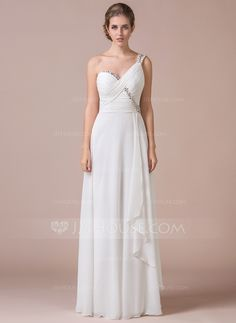 A-Line/Princess One-Shoulder Floor-Length Chiffon Prom Dress With Ruffle Beading Sequins (018056810) - JJsHouse