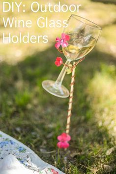 DIY wine glass holders! These are for a picnic but you could totally make them chair height! Wow!