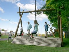 Twin cable ride with ramp at Cumbernauld Community Centre park