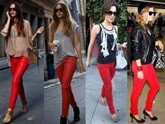 Saia do óbvio e ouse com uma calça vermelha. Um toque rocker no seu guarda-roupas.