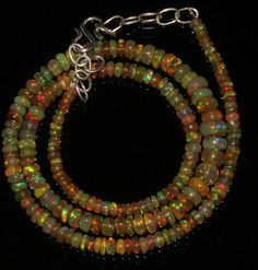 """45Ctw 1Necklace 3to6mm16"""" Beads Natural Genuine Ethiopian Welo Fire Opal 86358"""