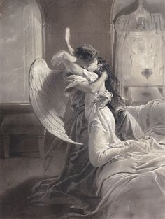 "Mihály Zichy (1827-1906) ""The Kiss"" - Ink and gouache"