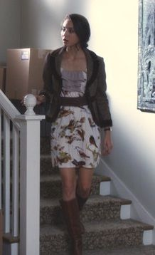 Leather knee high boots, a belted dress, and a blazer are a great way to look pulled together.