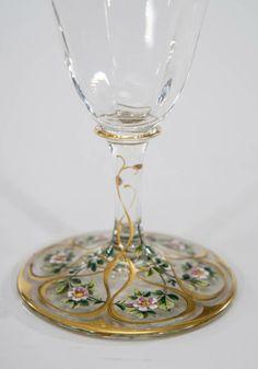 5 Piece Art Nouveau Centerpiece with Hand Painted Floral and Gold Polychrome Enamel Decoration | Elise Abrams Antiques