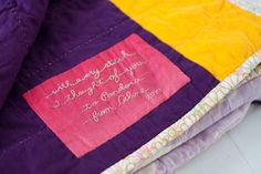 include a note on the back of a quilt