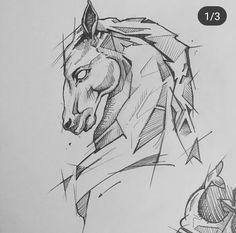 Dark Art Drawings, Horse Drawings, Pencil Art Drawings, Amazing Drawings, Animal Drawings, Drawing Sketches, Doodle Drawing, Horse Sketch, Arte Sketchbook