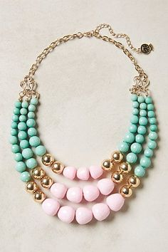 Gorgeous beaded necklace from Anthropologie! Gold plus retro colors make this classic look.