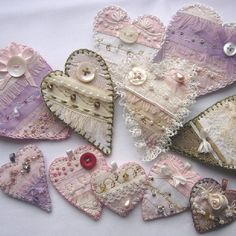 Pink & Cream Silk Brooches - adorned with ivory lace, glass seed beads, buttons, hand embroidery - top layer backed with felt, hand stitched edges (inspiration only) ********************************************* via folksy - hh Valentine Crafts, Valentines, Sewing Crafts, Sewing Projects, Crazy Patchwork, Crazy Quilting, Little Presents, Fabric Hearts, I Love Heart