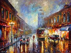 Leonid Afremov's paintings are always masterpieces of art. His paintings will be the best decoration for your interior! As well as a gift for loved ones and relatives for any occasion: Birthday, Anniversary, Wedding and Christmas. Despite the fact that the artist left us 6 months ago, you can still buy them on the Internet with free shipping all over the world, only from 149 $ Oil Painting On Canvas, Artist Painting, Canvas Art, City Painting, Knife Painting, Landscape Paintings, Easy Paintings, Popular Paintings, Modern Paintings