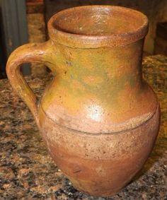 Early Primitive Antique Redware Stoneware Glazed Art Pottery Jug Pitcher Crock   eBay