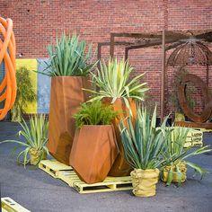 Designer Planters, Sculptural Planter Boxes, Corten Steel Planters available in powder coated colors as well Landscape And Urbanism, Landscape Elements, Landscape Design, Garden Design, Wheelbarrow Garden, Garden Planters, Garden Boxes, Corten Steel Planters, Metal Planters
