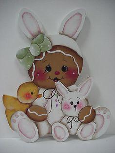 HP~~Gingerbread w/Easter Chick & Little Bunny ~~ Fridge MAGNET