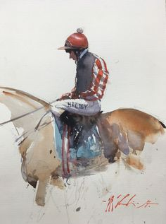 "Joseph Zbukvic, ""At the Races I"" - 12.5x9, watercolor on paper - at Principle Gallery"