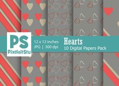 Valentine Hearts Pattern (Grey) Graphics Valentines Hearts Pattern digital papers 5 packThis 5 digital papers pack is great for creative pr by PixelaitStu