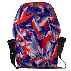 Abstract Red White and Blues Large Messenger Bag