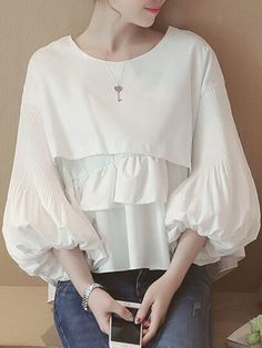 Sum All Chic, Shop White Ruffle Round Neck Lantern Sleeve Sweet Blouse online. Sleeves Designs For Dresses, Sleeve Designs, Blouse Styles, Blouse Designs, Hijab Fashion, Fashion Dresses, Mode Kpop, Blouse Outfit, White Shirts