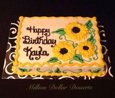 Sunflower Birthday Cakes, 17 Birthday Cake, Birthday Sheet Cakes, Sunflower Cakes, Buttercream Decorating, Buttercream Cake, Mini Cakes, Cupcake Cakes, Cupcakes