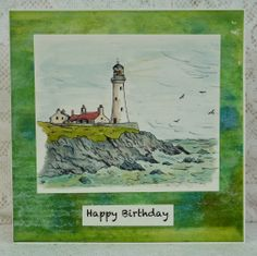 Just Inklined lighthouse scene coloured with Aquamarkers. Background paper made with re-inkers and uses corrugated card and Cuttlebug.