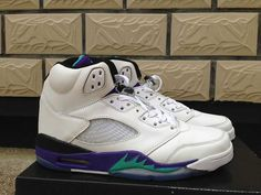 3317c17d536668 Nike Air Jordan 5 Womens V White New Emerald Grape Ice Blue Shoes