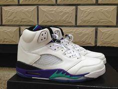 2de6279290a55a Nike Air Jordan 5 Womens V White New Emerald Grape Ice Blue Shoes