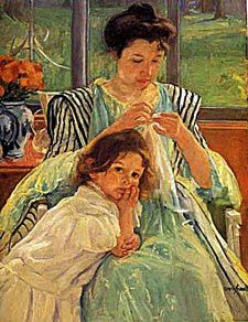 Mary Cassatt.  This painting reminds me of my mother- she sewed so many of my clothes-beautiful!