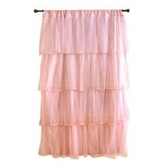 Starting to design the baby's room.  Loving these soft pink curtains.