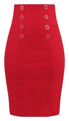 This high waisted pin up style pencil skirt is just divine! High quality bengaline stretch fabrication and retro inspired buttons in front makes this the perfect pencil skirt! Features include zip bac