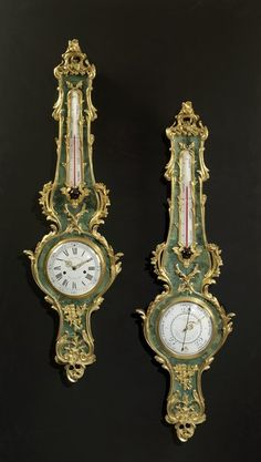 A Very Fine Ormolu Mounted Green Stained Horn Clock and Barometer Set : The British Antique Dealers' Association