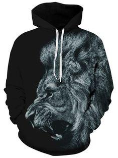 Headbook New Fashion Men/Women Sweatshirts Print Ferocious Lion Black Thin Autumn Winter Hooded Hoodies Pullovers Tops Sweat Shirt, Tie Dye Sweatshirt, Printed Sweatshirts, Mens Sweatshirts, Men's Hoodies, Lion Noir, Hooded Sweater, Pulls, Black Hoodie
