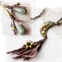 """☼ réservé à c ☼ collier """"lune etoilée"""" commande personnalisée, collier assorti aux boucles """"raku etoilé"""""""