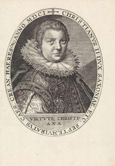 Crispijn van de Passe (I) | Portret van Christiaan II van Saksen, Crispijn van de Passe (I), 1601 | Portret van Christiaan II van Saksen, eronder zijn devies in het Latijn. Hij volgde in 1591 zijn vader Christiaan I van Saksen als keurvorst op, maar stond tot 1601 onder voogdij.