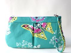zipper wristlet zipper clutch  purse with removable  by TinyDaisy